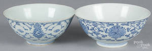 Two export porcelain blue and white bowls