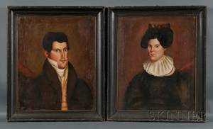 American School 19th Century Pair of Folk Portraits of a Man and Woman c 1840