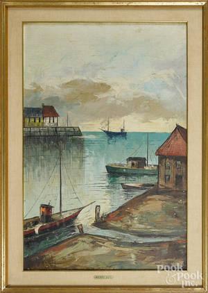 Oil on canvas Oriental port