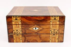 Tunbridge Inlaid Lap Desk Box L 19thE 20th C