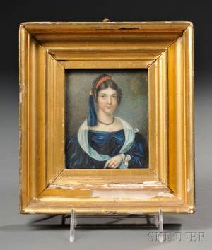 American School 19th Century Miniature Portrait of a Young Woman Wearing a Blue Dress