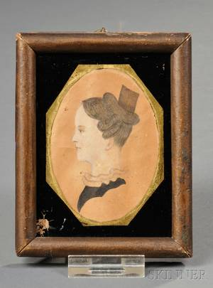 American School 19th Century Portrait Miniature of a Woman Wearing a Hair Comb