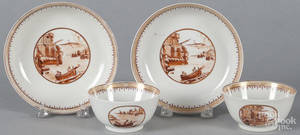 Pair of Chinese export cups and saucers
