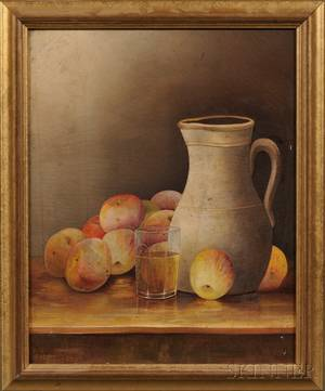American School 19th Century Tabletop Still Life with Pitcher Glass Tumbler and Apples