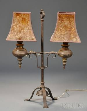 Iron and Brass Twolight Table Lamp with Two Mica Shades