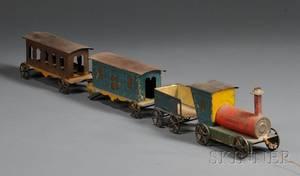 Polychromepainted Tin Toy Train Set