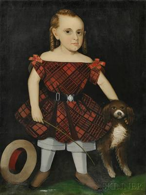 Attributed to Ammi Phillips American 17881865 Portrait of a Boy in a Red Plaid Dress with His Dog and a Riding Crop