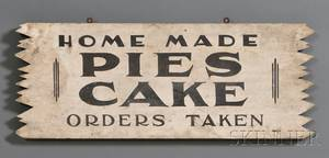 Painted Wooden Sign HOME MADE PIES CAKE ORDERS TAKEN