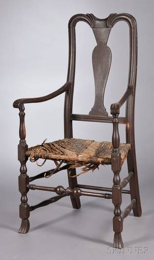 Queen Anne Carved and Brownpainted Armchair