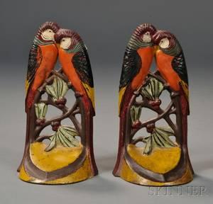 Pair of Cast Iron Lovebird Bookends