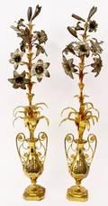 Pair of Floral Gilt Metal Mantle Vases