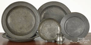 Six pieces of English pewter