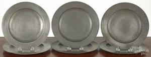 Six English pewter plates