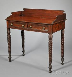 Classical Carved Mahogany and Mahogany Veneer Dressing Table