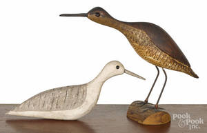 Two carved and painted shorebird decoys
