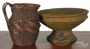 Large painted basketry compote