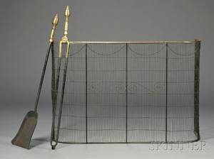 Pair of Fireplace Tools and a Firescreen