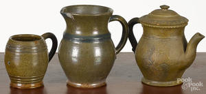 Three pieces of Stahl redware