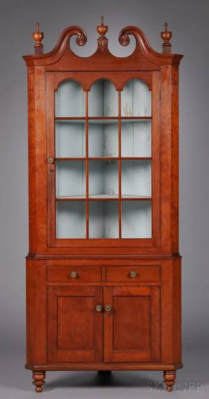 Redstained and Carved Glazed Cherry Twopart Corner Cupboard
