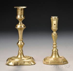 Two Early 18th Century Brass Candlesticks