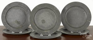 Six English pewter plates
