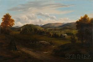 American School 19th Century New Hampshire Landscape with View of a Village and Mountains