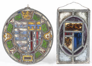 Two English stained glass panels