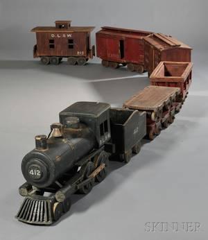 Eightcar Scratchbuilt Painted Wood Toy Train