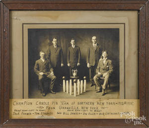 Large cabinet photo of the  Champion candle pin team of Northern New York  1912 to 1915