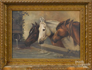 Oil on canvas of three horses drinking from a trough