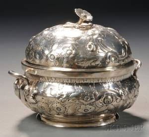 Large Sterling Silver Repousse Covered Sugar Bowl