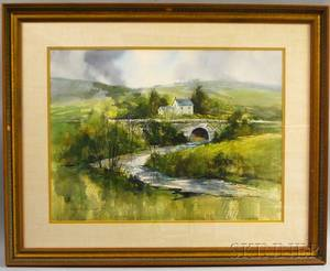 Nathalie Johnson Nordstrand American b 1932 Country Landscape with Bridge