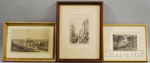 Three Etchings After JeanBaptisteCamille Corot French 17961875 Souvenir De Toscane