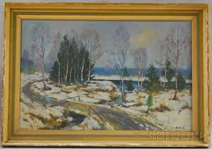 American School 20th Century Winter Landscape Along a Stream