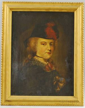 BritishFrench School 19th Century Portrait of a Lady in a Feather Hat
