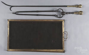 Federal brass and iron fire tongs and poker