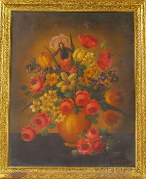 Henry L Sanger American 19th20th Century Still Life with Tulips Peonies Irises and Poppies