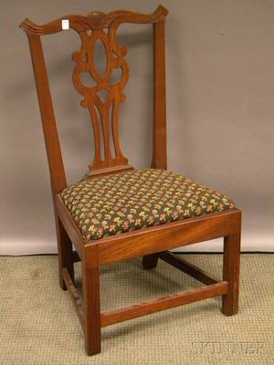 Newport Chippendale Carved Mahogany Side Chair with Upholstered Slip Seat