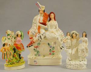 Three English Staffordshire Ceramic Figural Groups Depicting Couples and Families