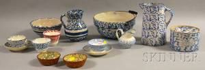 Seven Pieces of Blue and White Spongedecorated Stoneware and Seven Pieces of Spongedecorated Ceramic Tableware