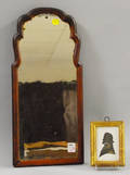 Miniature Giltwood Framed Hollowcut Silhouette of a Gentleman and Small Queen Anne Walnut Veneer Looking Glass