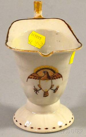 Chinese Export Porcelain Helmet Creamer with American Eagle Motif