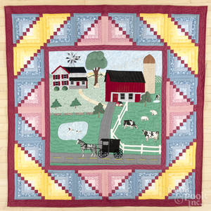 Contemporary appliqu farm scene quilt