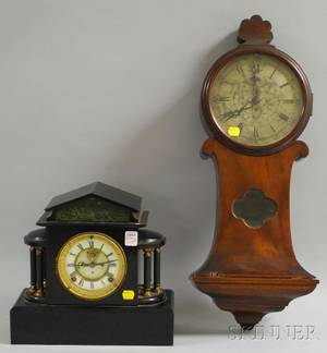 Seth Thomas Wall Clock and an Ansonia Mantel Clock