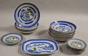 Set of Thirteen Chinese Export Porcelain Nankingtype Plates and Six Assorted Canton Plates and a Platter