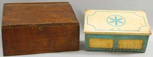 Grainpainted Pine Slantlid Desk Box and a Blue and Whitepainted Paneled Wood Lidded Storage Box with Fitted Interior