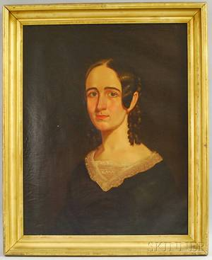 19th Century American School Oil on Canvas Portrait of a Young Woman