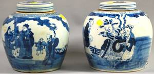 Two Chinese Blue and White Figuraldecorated Porcelain Ginger Jars with Covers