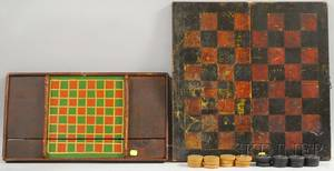 Painted Wood Folding Checkered Game Board Box and a Painted Wood Checkered Game Board