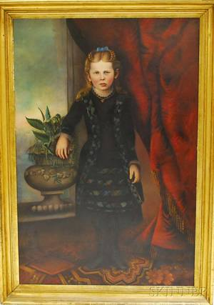 American School 19th Century Portrait of a Girl Wearing a Black Dress with Plaid Trim Standing Beside an Urn and Red Drapery